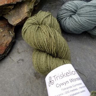 Bodhi – Mid-toned grey-green with a slight olive undertone Corriedale heavy DK/worsted weight yarn. Hand-dyed by Triskelion Studio.