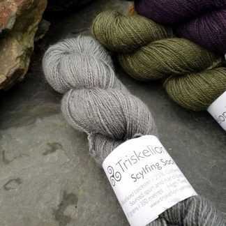 Caerthan's Grey – Light cadet grey with a delicate electric blue undertone Bluefaced Leicester (BFL) / Gotland / Wensleydale 4-ply (fingering) weight high-twist sock yarn. Hand-dyed by Triskelion Yarn