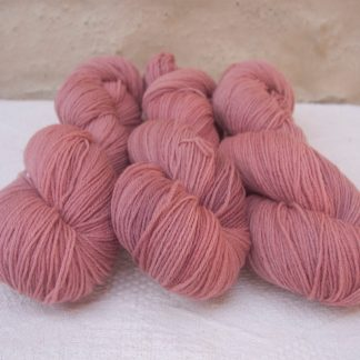 Ash Rose - Light greyish pink 4-ply/fingering Peruvian Highland wool sock yarn. Hand-dyed by Triskelion Yarn.