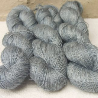 Glaucous - Light to mid-tone glaucous grey Baby Alpaca, silk and linen heavy laceweight yarn. Hand-dyed by Triskelion Yarn.