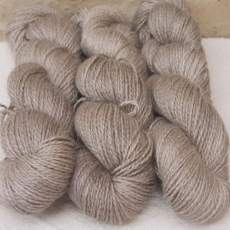 Pebble - Pale greyish brown Baby Alpaca, silk and linen sport weight yarn. Hand-dyed by Triskelion Yarn.