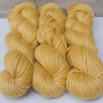 Sol - Light sunny yellow Baby Alpaca, silk and linen sport weight yarn. Hand-dyed by Triskelion Yarn.