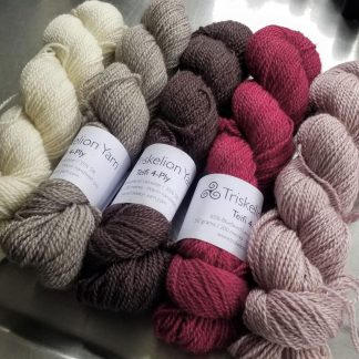 Cherry Pie Bundle Bluefaced Leicester / silk 4-ply yarn. Hand-dyed by Triskelion Yarn.