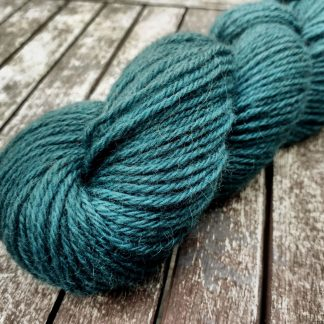 Harbour - Mid teal-turquoise Bluefaced Leicester (BFL) / Gotland aran weight yarn. Hand-dyed by Triskelion Yarn