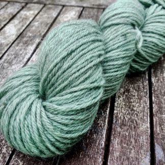 Lichen - Pale green Bluefaced Leicester (BFL) / Gotland aran weight yarn. Hand-dyed by Triskelion Yarn
