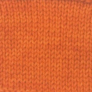 Sunburst - Bright mid-tone orange Corriedale heavy DK/worsted weight yarn. Hand-dyed by Triskelion Studio.