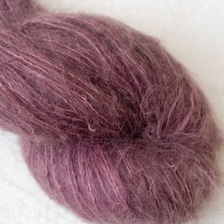 Blackcurrant - Mid to dark reddish purple brushed suri alpaca luxury yarn. Hand-dyed by Triskelion Yarn