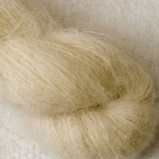 Buttermilk - Pale cream brushed suri alpaca luxury yarn. Hand-dyed by Triskelion Yarn