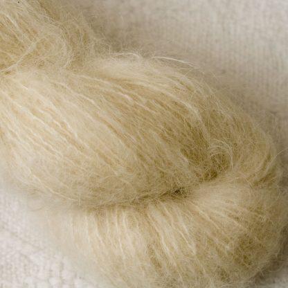 Buttermilk - Pale cream brushed suri alpaca luxury yarn. Hand-dyed by Triskelion Yarn