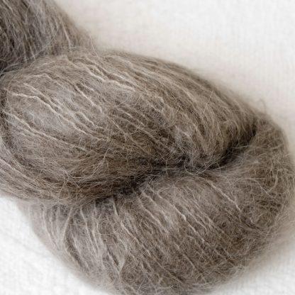 Driftwood - Mid-tone taupe/warm grey brushed suri alpaca luxury yarn. Hand-dyed by Triskelion Yarn