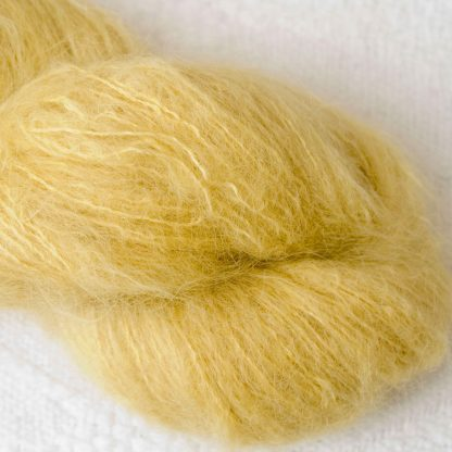 Duckling – Light lemon yellow brushed suri alpaca luxury yarn. Hand-dyed by Triskelion Yarn