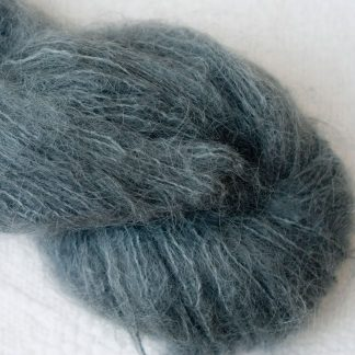 Endless Forms - Mid-toned grey with an aqua-green undertone brushed suri alpaca luxury yarn. Hand-dyed by Triskelion Yarn