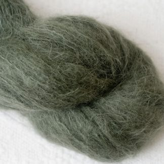 Olive – Mid-tone dull green brushed suri alpaca luxury yarn. Hand-dyed by Triskelion Yarn