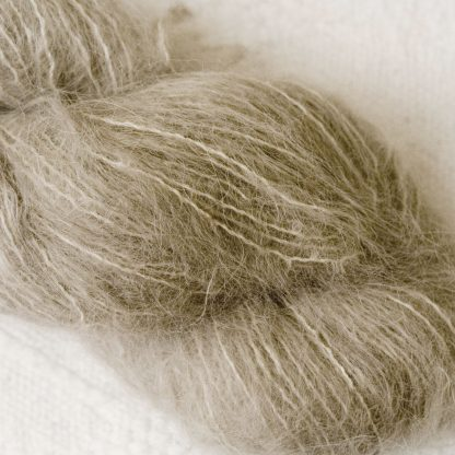 Pebble - Pale taupe brushed suri alpaca luxury yarn. Hand-dyed by Triskelion Yarn