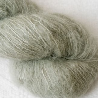 Sage – Pale silvery green brushed suri alpaca luxury yarn. Hand-dyed by Triskelion Yarn
