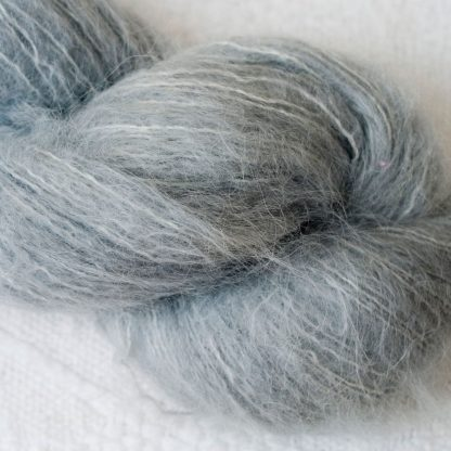 Seagull - Light grey brushed suri alpaca luxury yarn. Hand-dyed by Triskelion Yarn