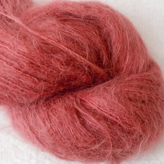 Beach Hut - Light scarlet brushed suri alpaca luxury yarn. Hand-dyed by Triskelion Yarn