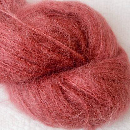 Beach Hut - Light scarlet brushed suri alpaca luxury yarn. Hand-dyed by Triskelion Yarn