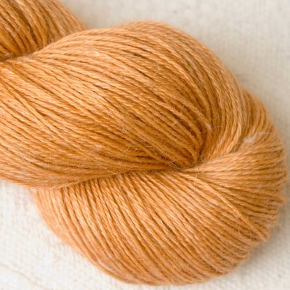 Apricot - Light apricot orange Baby Alpaca, silk and linen 4-ply yarn. Hand-dyed by Triskelion Yarn.