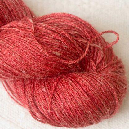 Beach Hut - Light scarlet Baby Alpaca, silk and linen 4-ply yarn. Hand-dyed by Triskelion Yarn.