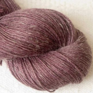 Blackcurrant - Mid to dark reddish purple Baby Alpaca, silk and linen 4-ply yarn. Hand-dyed by Triskelion Yarn.
