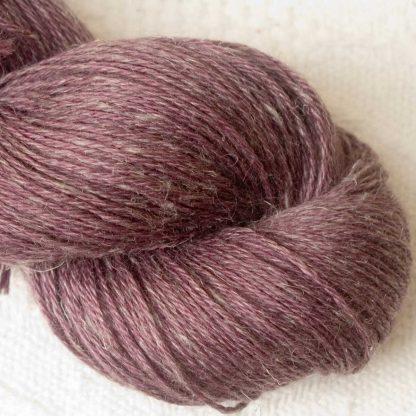 Blackcurrant - Mid to dark reddish purple Baby Alpaca, silk and linen 4-ply yarn. Hand-dyed by Triskelion Yarn.