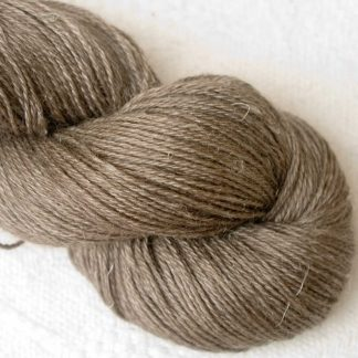Driftwood - Mid-tone taupe/warm grey Baby Alpaca, silk and linen 4-ply yarn. Hand-dyed by Triskelion Yarn.