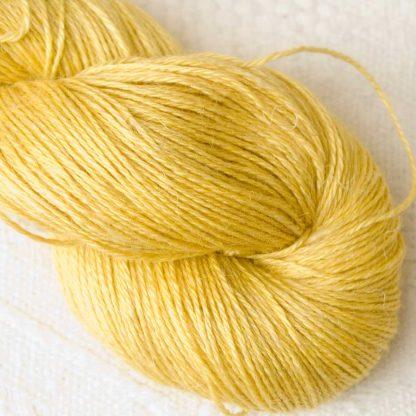 Duckling – Light lemon yellow Baby Alpaca, silk and linen 4-ply yarn. Hand-dyed by Triskelion Yarn.
