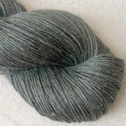 Endless Forms - Mid-toned grey with an aqua-green undertone Baby Alpaca, silk and linen 4-ply yarn. Hand-dyed by Triskelion Yarn.