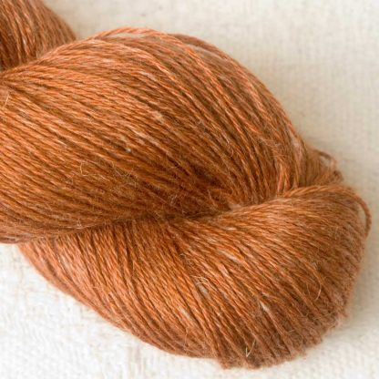Fox - Rich orange-tan Baby Alpaca, silk and linen 4-ply yarn. Hand-dyed by Triskelion Yarn.