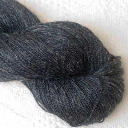 Ink - Blue-black Baby Alpaca, silk and linen 4-ply yarn. Hand-dyed by Triskelion Yarn.