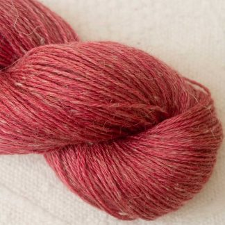 Mafon - Mid-tone raspberry/rose Baby Alpaca, silk and linen 4-ply yarn. Hand-dyed by Triskelion Yarn.