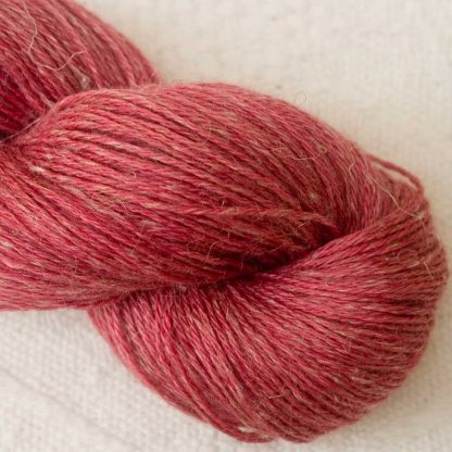 Mafon - Mid-tone raspberry/rose Baby Alpaca, silk and linen 4-ply yarn. Hand-dyed by Triskelion Yarn.