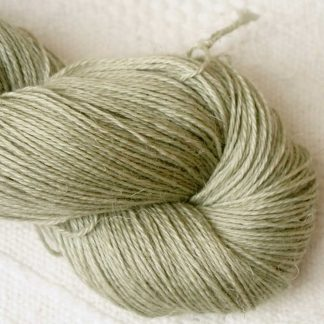 Sage – Pale silvery green Baby Alpaca, silk and linen 4-ply yarn. Hand-dyed by Triskelion Yarn.