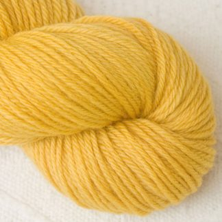 Indian Summer - Light sunny yellow Corriedale heavy DK/worsted weight yarn. Hand-dyed by Triskelion Studio.