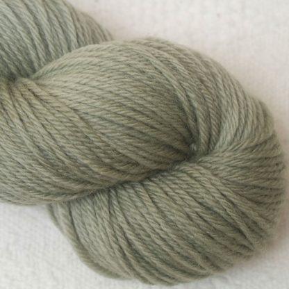 Sage – Pale silvery green Corriedale heavy DK/worsted weight yarn. Hand-dyed by Triskelion Studio.