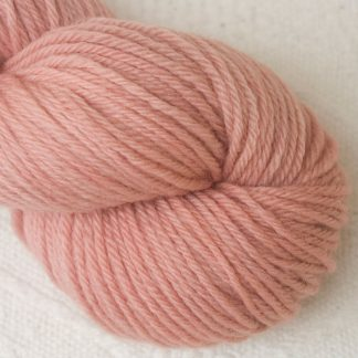 Seashell - Pale shell pink Corriedale heavy DK/worsted weight yarn. Hand-dyed by Triskelion Studio.
