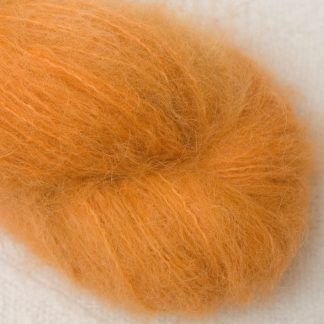 Anemone - Apricot orange suri alpaca luxury yarn. Hand-dyed by Triskelion Yarn