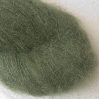 Bodhi – Mid-toned grey-green with a slight olive undertone suri alpaca luxury yarn. Hand-dyed by Triskelion Yarn