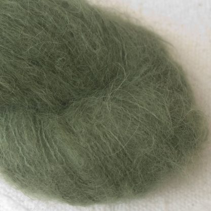Bodhi – Mid-toned grey-green with a slight olive undertone suri alpaca luxury yarn. Hand-dyed by Triskelion Yarn