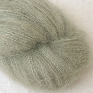 Sage – Pale silvery green suri alpaca luxury yarn. Hand-dyed by Triskelion Yarn