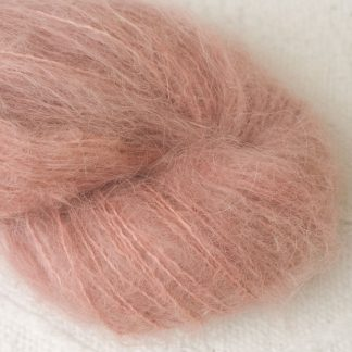 Seashell - Pale shell pink suri alpaca luxury yarn. Hand-dyed by Triskelion Yarn