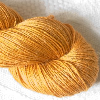Anemone - Apricot orange Baby Alpaca, silk and linen 4-ply yarn. Hand-dyed by Triskelion Yarn.