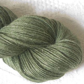 Bodhi – Mid-toned grey-green with a slight olive undertone Baby Alpaca, silk and linen 4-ply yarn. Hand-dyed by Triskelion Yarn.