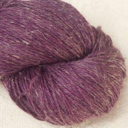 Helleborine - Dark Tyrian red-purple Baby Alpaca, silk and linen 4-ply yarn. Hand-dyed by Triskelion Yarn.