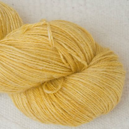 Indian Summer - Light sunny yellow Baby Alpaca, silk and linen 4-ply yarn. Hand-dyed by Triskelion Yarn.