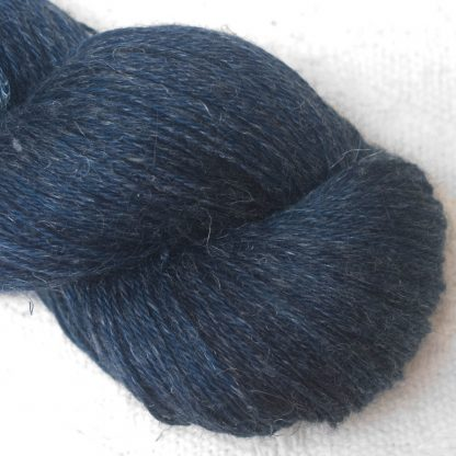 Penumbral - Cool navy blue Baby Alpaca, silk and linen 4-ply yarn. Hand-dyed by Triskelion Yarn.