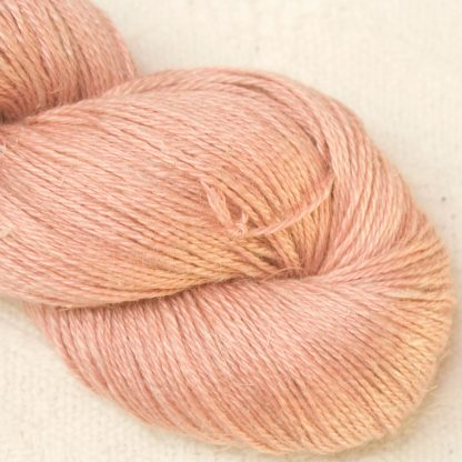 Seashell - Pale shell pink Baby Alpaca, silk and linen 4-ply yarn. Hand-dyed by Triskelion Yarn.