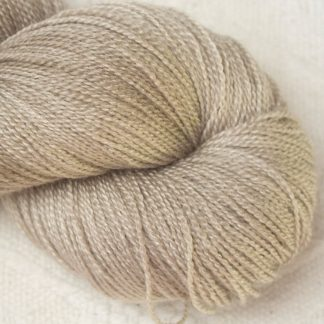 Biscuit - Light brownish beige Merino and silk blend lace weight yarn. Hand-dyed by Triskelion Yarn.