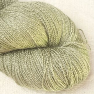 Sage – Pale silvery green Merino and silk blend lace weight yarn. Hand-dyed by Triskelion Yarn.